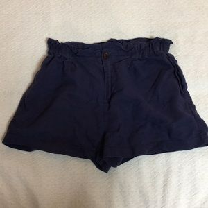 Blue Paper Bag High Waisted Shorts